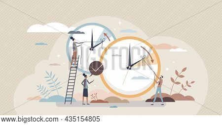 Daylight Saving Time And Change Clock To One Hour Back Tiny Person Concept. Fall Back And Turn Sprin