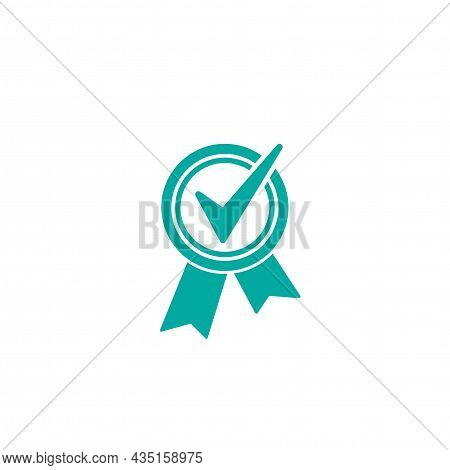 Valid Seal Icon. Blue Circle With Ribbon And White Tick. Quality Guarantee. Flat Ok Sticker Icon. Is