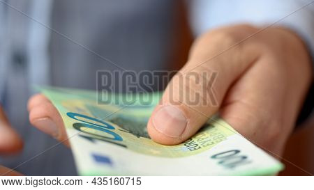 Close Up Man Hands While Counting Euro Money Bills European Economy Value. Euro Currency Exchange. C