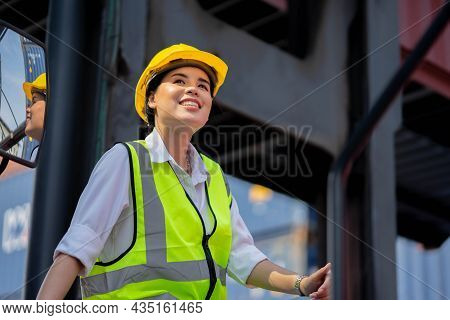 Factory Worker Woman Happy Smile On Working Day