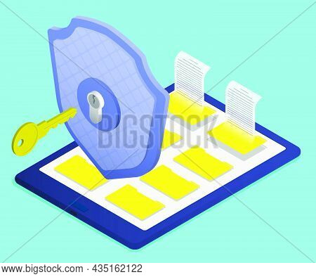 Isometric Firewall Shield With Key Protects Digital Tablet With Archive Of Electronic Documents. Key