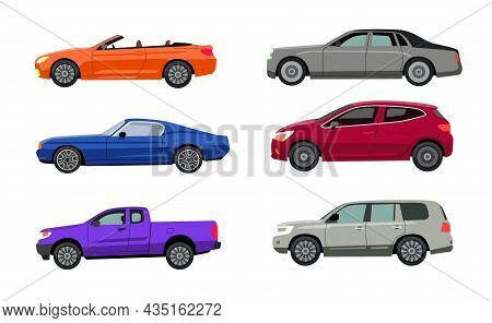 Side View Of Different Car Models Flat Vector Illustrations Set. Autos Of Various Colors, Suv, Hatch