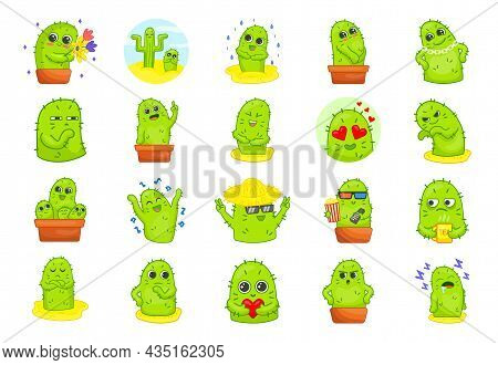 Cute Green Cactus Cartoon Characters Stickers Set. Spiky Plant In Different Poses, Actions And With