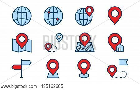 Navigation And Map Direction Icon. Navigator App Icon Element Like Locator, Map, And Route. Perfect