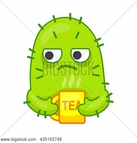 Sleepy Green Cactus Character Drinling Tea. Tired Mexican Plant With Spikes Having Tea Time. Cartoon