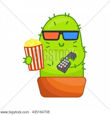 Cute Cactus Character Watching Cinema Sticker. Green Houseplant In Pot Watching Tv And Eating Popcor