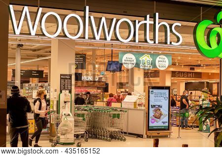 Sydney, Australia 2021-07-02: Exterior View Of Woolworths Supermarket During The Covid-19 Pandemic.