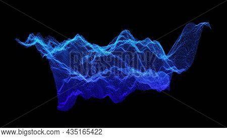 Data trends. Three dimensional surface of complex data subjects. Blue wire frame mesh on black background. Waveform peaks and valleys of data generated surface.  3D illustration, 3D rendering.
