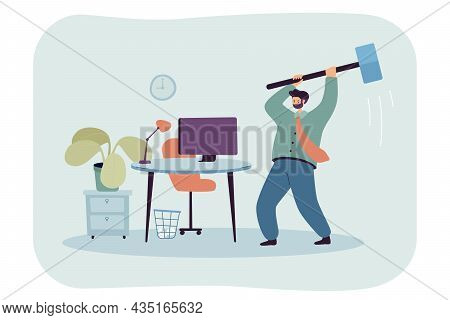 Angry Business Person Breaking Office Computer With Big Hammer. Adult Man Destroying Monitor At Work