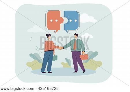 Dialogue Between Male And Female Business People. Puzzle Pieces Of Speech Bubble Above Cartoon Chara