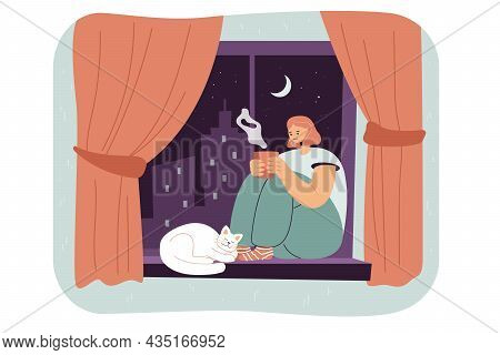 Female Cartoon Character Sitting On Window Sill With Cat. Lonely Woman Drinking And Enjoying Hot Tea