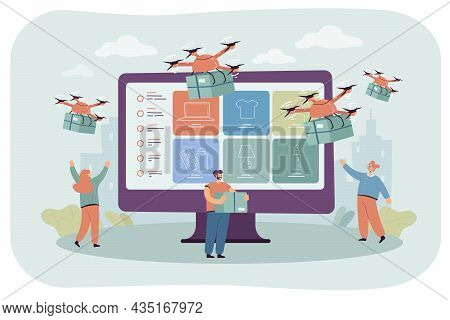 Professional Drones Delivering Purchases To Cartoon Customers. City People With Huge Monitor Flat Ve