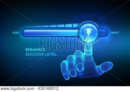 Success Level Growth. Increasing Success Level. Wireframe Hand Is Pulling Up To The Maximum Position