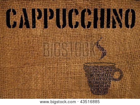 Typographic symbol cup of coffee printed on burlap poster