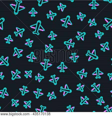 Line Plane Icon Isolated Seamless Pattern On Black Background. Flying Airplane Icon. Airliner Sign.
