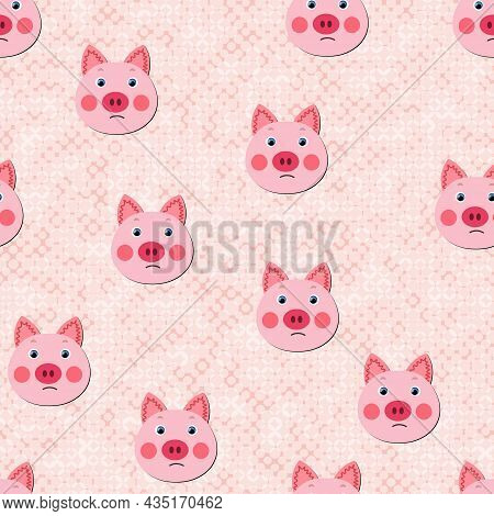Vector Flat Animals Colorful Illustration For Kids. Seamless Pattern With Cute Pig Face On Color Pol