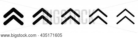 Set Swipe Up Arrows Icon With Different Width. Vector Buttons Isolated On White Background