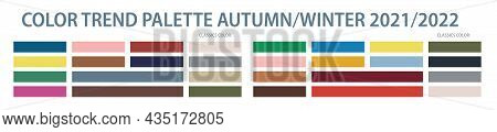 Color Trend Palette 2021, 2022 Autumn And Winter. Color Swatch Trend Autumn And Winter 2022 Year. Se