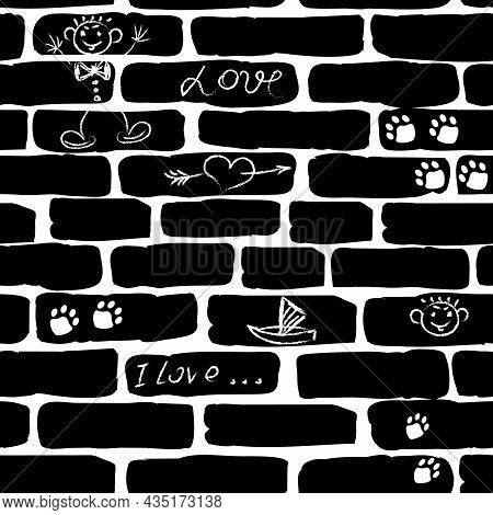 Seamless Pattern From Black Bricks.seamless Pattern Of Black Bricks With Drawings And Inscriptions O