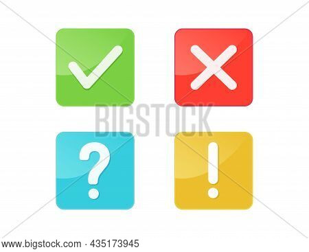 Green Check Mark And Red Cross Button. Exclamation Mark, Question Mark Icon Isolated On White Backgr