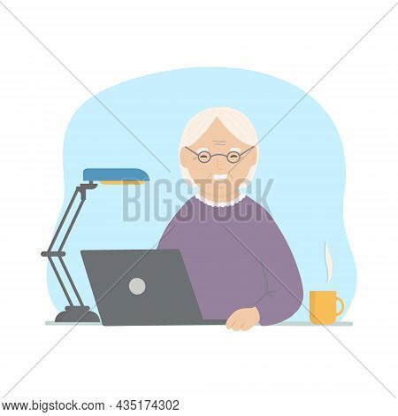 Happy Grandma With Laptop. Cheerful Senior Woman Using Her Laptop While Sitting. Vector Hand Drawn I