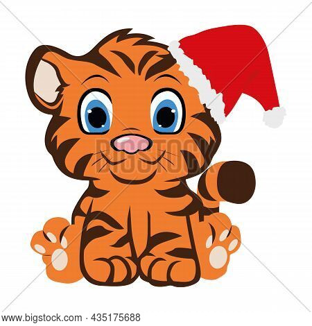 Cute Tiger Cub. Happy Chinese New Year 2022. Year Of The Tiger. Printing For Children's T-shirts, Gr