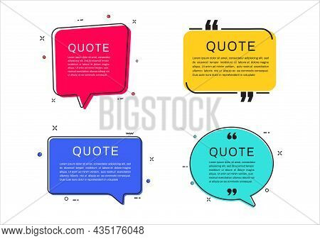 Quote Frames Templates. Set Of Quote Text Bubbles. Vector Illustration