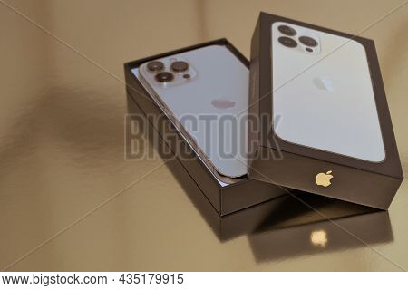Turku, Finland- 26 September, 2021: New Iphone 13 Pro Max In An Open Box.