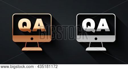 Gold And Silver Speech Bubbles With Question And Answer Icon Isolated On Black Background. Q And A S