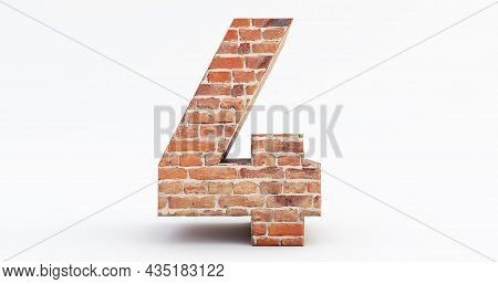 3d Render Of Red Brick Numbers, Number Four (4) Isolated On White Background