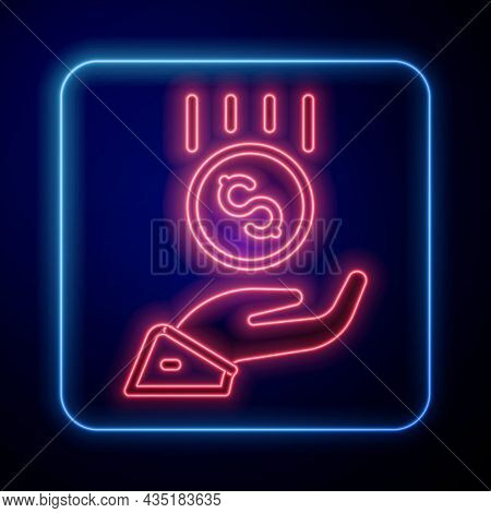 Glowing Neon Coins On Hand - Minimal Wage Icon Isolated On Black Background. Vector