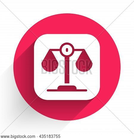 White Scales Of Justice Icon Isolated With Long Shadow. Court Of Law Symbol. Balance Scale Sign. Red