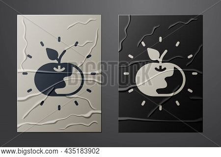 White Poison Apple Icon Isolated On Crumpled Paper Background. Poisoned Witch Apple. Paper Art Style
