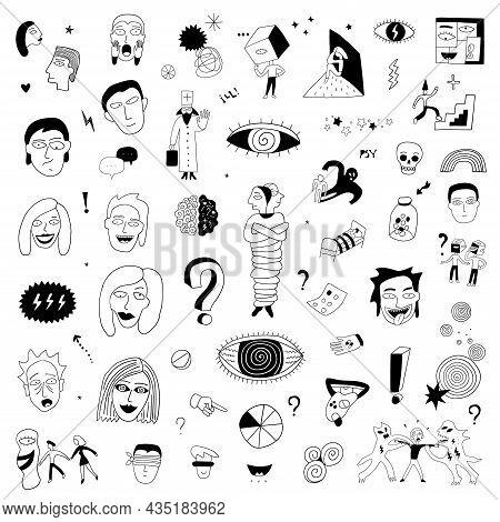 Psycho, Crazy People Face Doodle Set Symbols