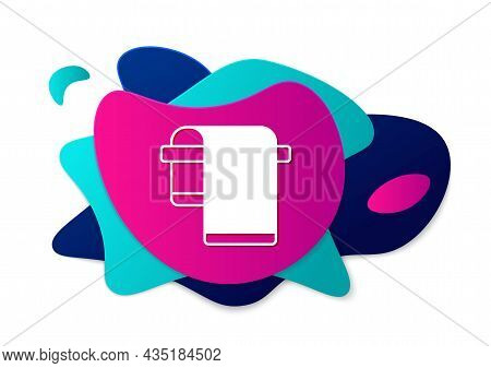 Color Towel On Hanger Icon Isolated On White Background. Bathroom Towel Icon. Abstract Banner With L