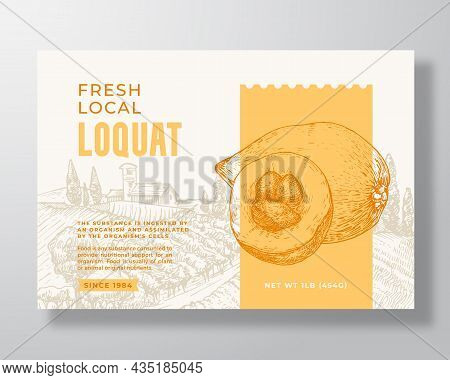 Fresh Local Loquat Food Label Template. Abstract Vector Packaging Design Layout. Modern Typography B
