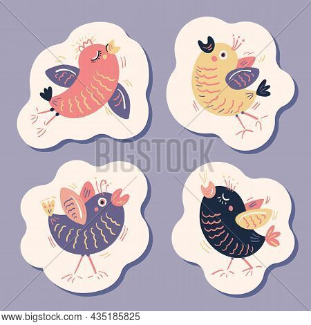 A Set Of Stickers With Funny Birds With Doodle Style. Vector Illustration