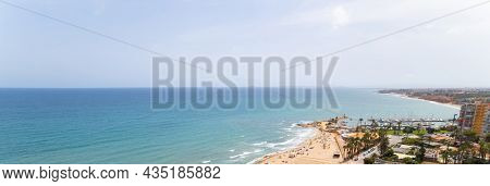 Cropped Image Panoramic View Mediterranean Sea And Coastline With Sandy Beach Of Dehesa De Campoamor