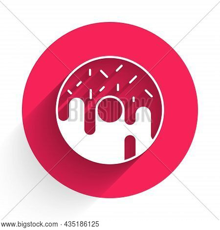 White Donut With Sweet Glaze Icon Isolated With Long Shadow Background. Red Circle Button. Vector