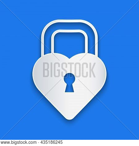 Paper Cut Castle In The Shape Of A Heart Icon Isolated On Blue Background. Locked Heart. Love Symbol