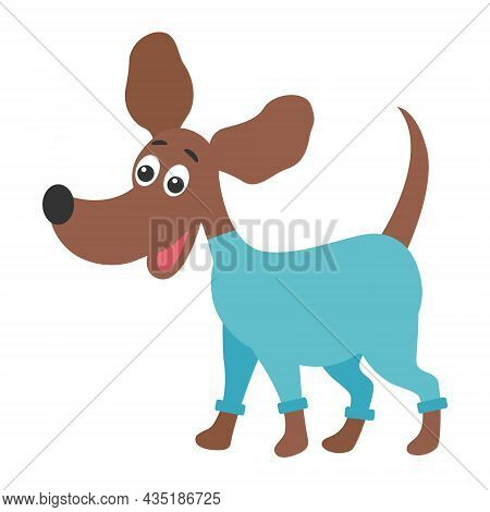 Funny Dog With Dyne Ears In Overalls, Vector Illustration. Pet For A Walk. Smooth-haired Medium-size