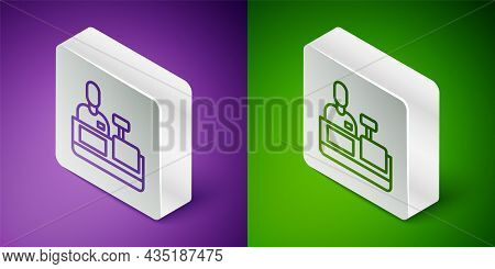 Isometric Line Cashier At Cash Register Supermarket Icon Isolated On Purple And Green Background. Sh