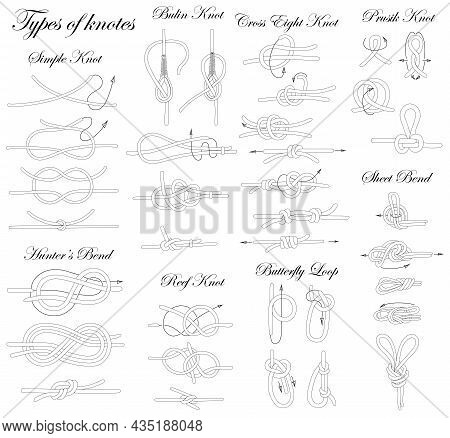 Types Of Knots. Illustration Of The Sequence Of Tying Knots Of Varying Complexity.