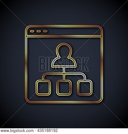 Gold Line Online Education And Graduation Icon Isolated On Black Background. Online Teacher On Monit
