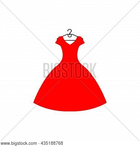 Red Dress With Hanger Icon. Bress Layout Concept. Trendy Flat Isolated Outline Symbol, Sign Can Be U