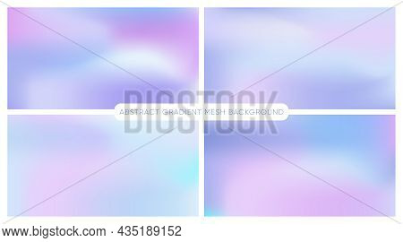 Smooth Gradient Backgrounds. Set Of Pastel Gradient Mesh Backdrop. Smooth Foil Blurred Futuristic Te