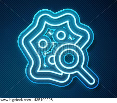 Glowing Neon Line Microorganisms Under Magnifier Icon Isolated On Blue Background. Bacteria And Germ