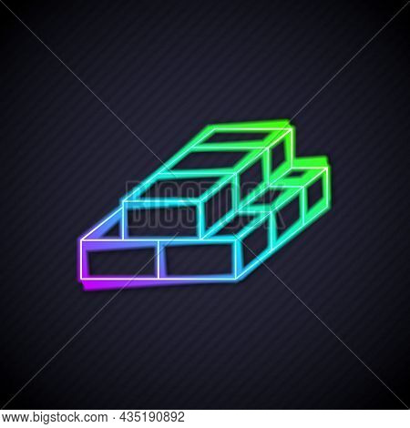Glowing Neon Line Stacks Paper Money Cash Icon Isolated On Black Background. Money Banknotes Stacks.
