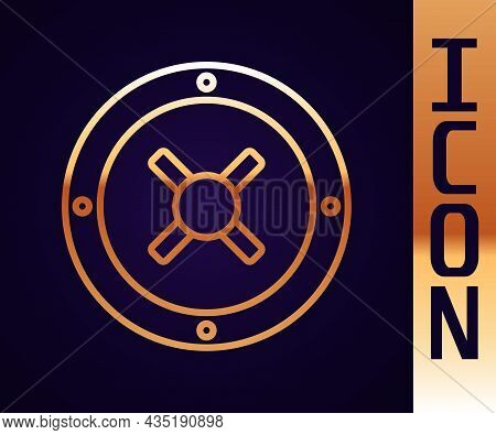 Gold Line Safe Icon Isolated On Black Background. The Door Safe A Bank Vault With A Combination Lock