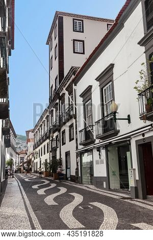 Funchal, Portugal - August 20, 2021: This Is One Of The Pedestrian Streets Of The Downtown, Paved Wi